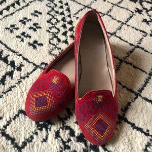 Yoki Embroidered Red Velvet Loafers